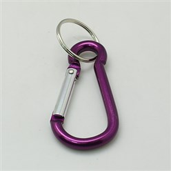 Purple Aluminum Oval Carabiner Keychain, with Iron Clasps, Purple, 60.5x29mm