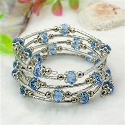 CornflowerBlue Fashion Wrap Bracelets, with Rondelle Glass Beads, Tibetan Style Bead Caps, Brass Tube Beads and Steel Memory Wire, CornflowerBlue, Inner Diameter: 55mm