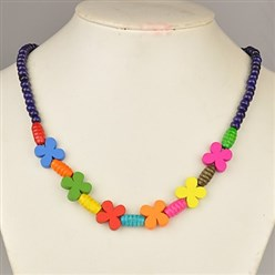 Indigo Colorful Wood Necklaces for Kids, Children's Day Gifts, Stretchy, Indigo, 18 inches