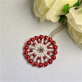 DIY Necklace Kits, Red Pendant Necklace with Pearl Beads and Seed Beads