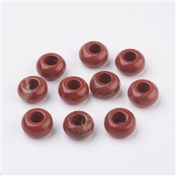 Red Jasper Natural & Synthetic Gemstone European Beads, Large Hole Beads, Rondelle, 14x8mm, Hole: 5mm
