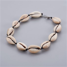 Cowrie Shell Beads Anklets, with Nylon Thread Cord and 304 Stainless Steel Lobster Claw Clasps