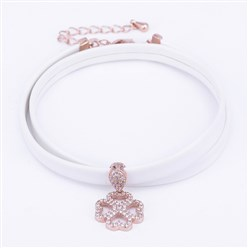 "Rose Gold PU Leather Cord Choker Necklaces, with Brass Micro Pave Cubic Zirconia Pendants and Lobster Claw Clasps, Clover, White, Rose Gold, 13.38""(34cm)"