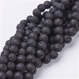 Natural Lava Beads Strands, Round, 8mm, Hole: 1mm