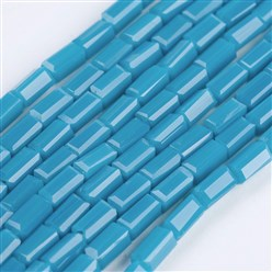 "Cyan Opaque Glass Beads Strands, Faceted, Cuboid, Cyan, 4~5x2~2.5x2~2.5mm, Hole: 0.5mm; about 100pcs/strand, 17.5~19""(44.5~48.5cm)"