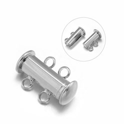 Platinum 2-Strands 4-Holes Tube Brass Magnetic Slide Lock Clasps, Nickel Free, Platinum, 16x10x7mm, Hole: 2mm