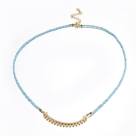 Faceted Natural Opal Beaded Necklace Makings, with Brass Micro Pave Cubic Zirconia Findings