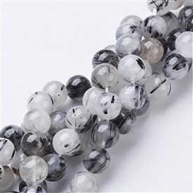 Natural Black Rutilated Quartz Beads Strands, Round