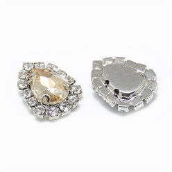 Light Colorado Topaz Sew on Rhinestone, Glass Rhinestone, with Platinum Tone Brass Prong Settings, Garments Accessories, Drop, Light Colorado Topaz, 14.5x11x5mm, Hole: 0.8mm