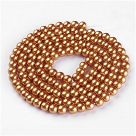 Glass Pearl Beads Strands, Pearlized, Round, 6mm, Hole: 1mm; about 140pcs/str, 32""
