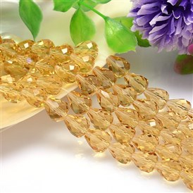 Faceted Teardrop Imitation Austrian Crystal Bead Strands, Grade AAA