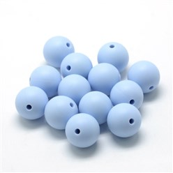 LightSteelBlue Food Grade Environmental Silicone Beads, Chewing Beads For Teethers, DIY Nursing Necklaces Making, Bowknot, LightSteelBlue, 21x29x10.5mm, Hole: 2mm
