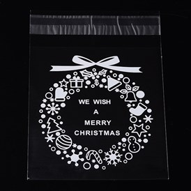 Rectangle OPP Cellophane Bags for Christmas, with Wreath Pattern, 14x9.9cm; Bilateral Thickness: 0.07mm; about 95~100pcs/bag