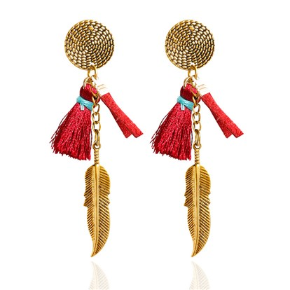 Alloy Dangle Stud Earrings, with Feather and Tassel, Antique Golden-1