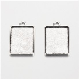 Rectangle Tibetan Style Alloy Pendant Cabochon Settings, Plain Edge Bezel Cups, Cadmium Free & Lead Free, Tray: 18x25mm; 31x20x2mm, Hole: 3mm; about 285pcs/1000g