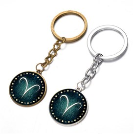 Alloy Keychain, with Glass, Flat Round with Twelve Constellations