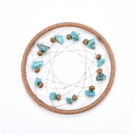 Iron Woven Net/Web Big Pendants, with Nylon Cord, Polyester Thread, Synthetic Turquoise and Wood Beads, For Woven Net/Web with Feather Making
