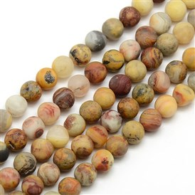 Frosted Natural Crazy Agate Round Bead Strands