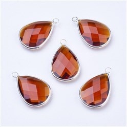 Peru Silver Tone Brass Glass Drop Pendants, Faceted, Peru, 18x10x5mm, Hole: 2mm