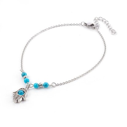 Synthetic Turquoise Charms Anklets, with Tibetan Style Alloy Pendants, 304 Stainless Steel Findings and Iron Eye Pin, Hamsa Hand/Hand of Fatima/Hand of Miriam