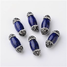 Oval Natural Lapis Lazuli Beads, with Grade A Rhinestones, 25~27x10mm, Hole: 1mm