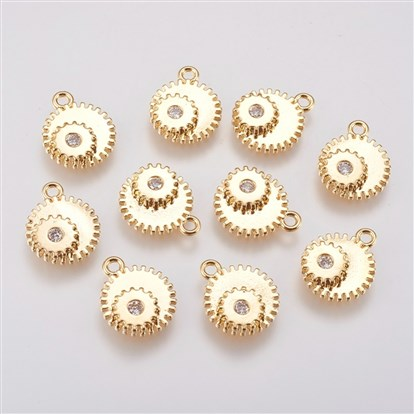 Brass Micro Pave Cubic Zirconia Charms, Gear