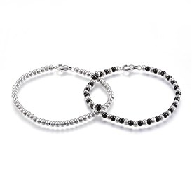 304 Stainless Steel Beaded Bracelets, with Lobster Clasp