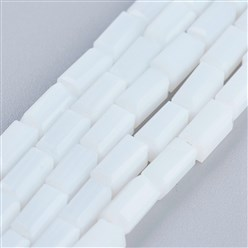 "White Opaque Glass Beads Strands, Faceted, Cuboid, White, 6.5~7x3~3.5x3~3.5mm, Hole: 0.5mm; about 80pcs/strand, 20.6~22""(52.5~56cm)"