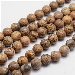 Picture Jasper Round Natural Picture Jasper Bead Strands, 6mm, Hole: 1mm; about 65pcs/strand, 15.74""