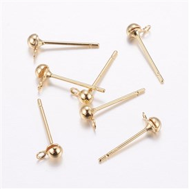 Brass Stud Earring Findings, with Loop, Long-Lasting Plated, Real Gold Plated, Cadmium Free & Nickel Free & Lead Free