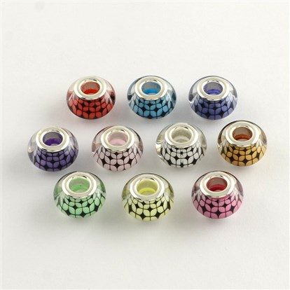 Large Hole Acrylic European Beads, with Platinum Tone Brass Double Cores, Rondelle