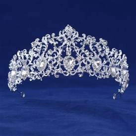 Fashionable Wedding Crown, Silver Plated Alloy Hair Bands, Bridal Tiaras, with Rhinestone