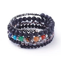 Lava Natural Lava and Mixed Gemstone Warp Bracelets, with Glass Beads and Alloy Findings, 50mm