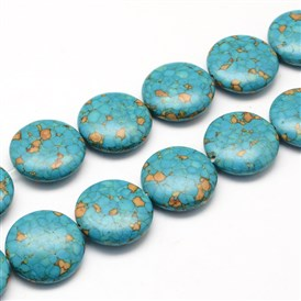 Dyed Synthetic Turquoise Bead Strands, Flat Round