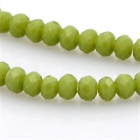 Imitation Jade Glass Faceted Rondelle Beads Strands, 3x2mm, Hole: 1mm; about 198pcs/strand, 15.7 inches