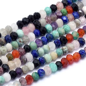 Natural Mixed Stone Beads Strands, Faceted, Rondelle