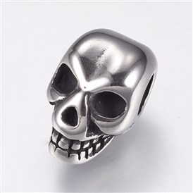 316 Stainless Steel European Beads, Large Hole Beads, Skull
