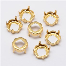 Square Brass Rhinestone Claw Settings, Open Back Settings, Within the Error Range of 1mm