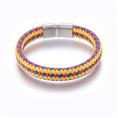 Leather Braided Cord Bracelets, with 304 Stainless Steel Magnetic Clasp, Rectangle-1