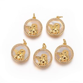 Brass Pendants, with Micro Pave Cubic Zirconia, Shell and Jump Rings, Flat Round with Angel, Clear