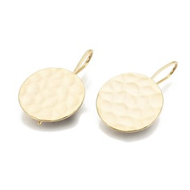 Hammered Brass Earring Hooks, Flat Round, Real Gold Plated