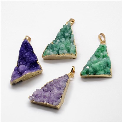 Electroplated Natural & Dyed Druzy Agate Pendants, with Golden Plated Brass Findings, Triangle-1