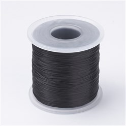 Black Japanese Flat Elastic Crystal String, Elastic Beading Thread, for Stretch Bracelet Making, Black, 0.5mm; about 300m/roll