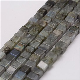 Natural Labradorite Beads Strands, Cube