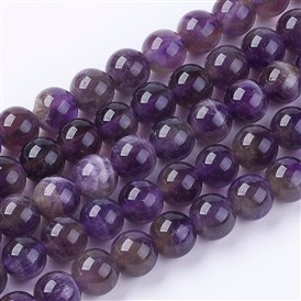 Natural Gemstone Beads Strands, Amethyst, AB Grade, Round