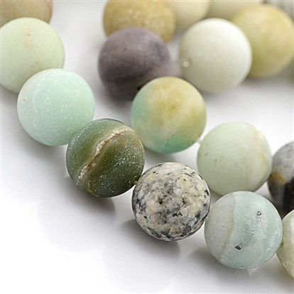 Natural Frosted Amazonite Round Beads