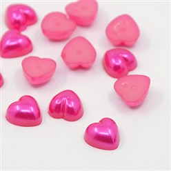 Cerise Acrylic Imitation Pearl Cabochons, Dyed, Heart, Cerise, 10.5x10.5x5mm; about 1500pcs/bag