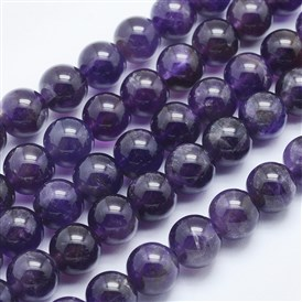 Natural Amethyst Beads Strands, Round, Grade AB