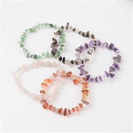 Gemstone Bead Bracelets, with Iron Round Bead and Korean Elastic Threads, 50mm