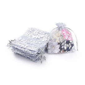 Rose Printed Organza Bags, Wedding Favour Bags, Gift Bags, Rectangle